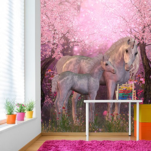 Wall Mural Unicorn - Unicorn, Foal & Blossom Tree Fantasy Fairytale Wall Mural kids Photo Wallpaper available in 8 Sizes Gigantic Digital