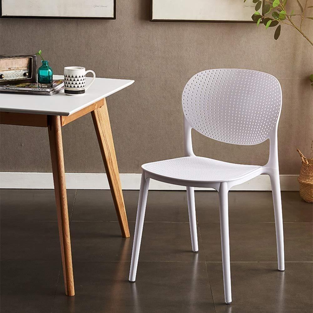 THBEIBEI Modern design matstol datorstolar kontor andningsbar ryggstöd lämplig för sommar plast sits vikt 120 kg för kontorslounge (färg: vit) Vitt
