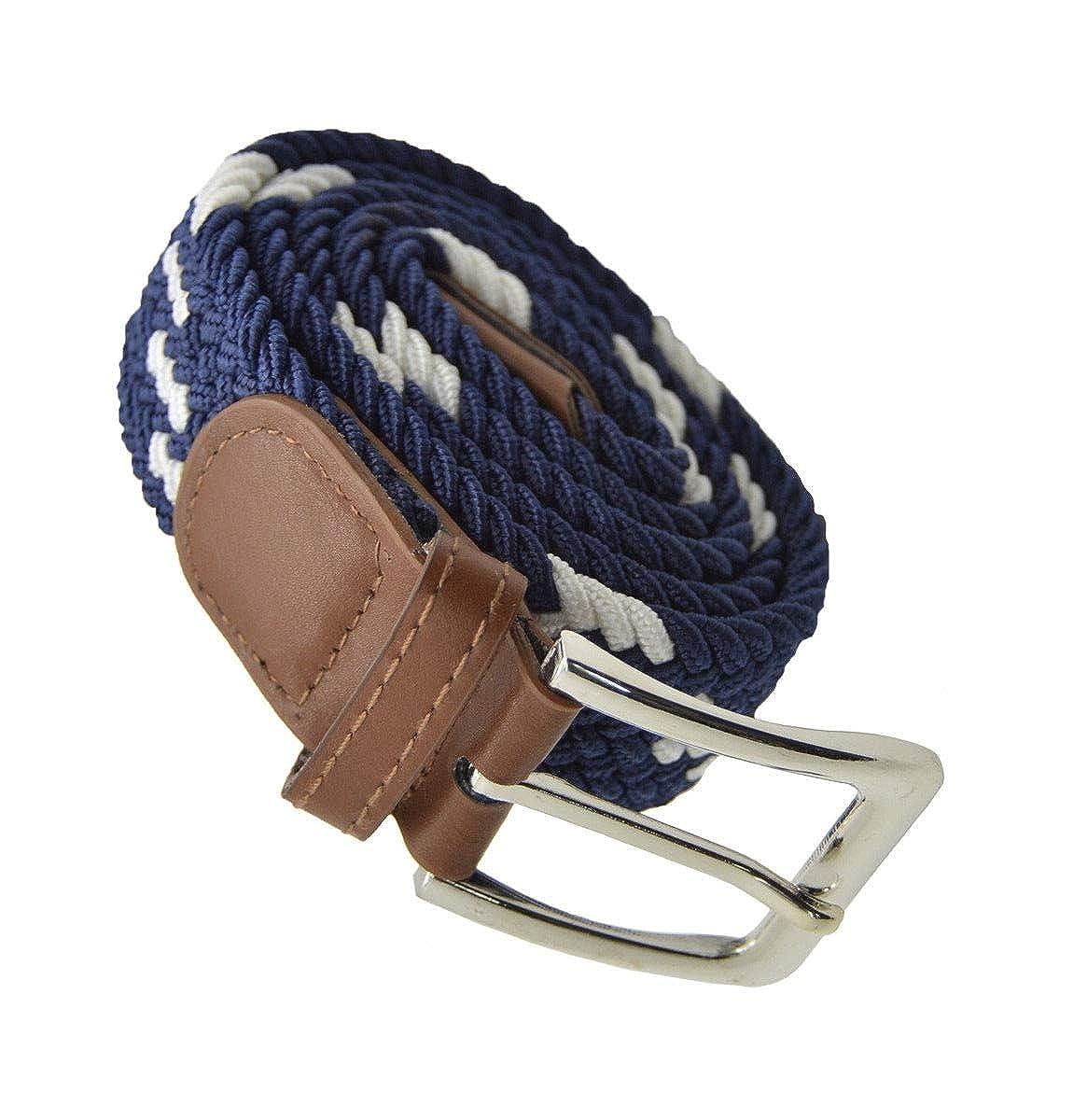 Stylish Men Elastic Expandable Braided Fabric Woven Stretch Belt 44 White//Navy #AAAS