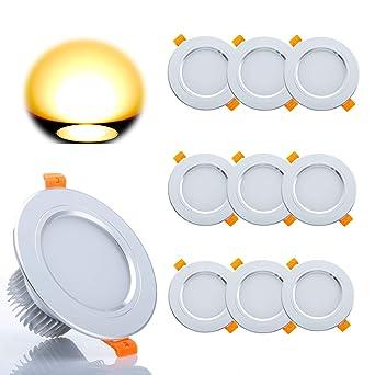 LED Einbaustrahler Set, 10 x Gr4tec Bad Einbauspots LED Deckenspots 3W  300lm 2700K Warmweiss 80Ra Rund Badleuchte für Badezimmer Deckenstrahler ...