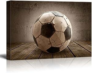 wall26 - Goal! Soccer Rustic Rectangular Sport Panel - Futbol - Celebrating American Sports Traditions - Canvas Art Home Art - 24x36 inches
