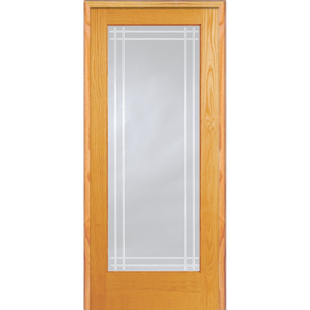 National Door Company Z019977L Unfinished Pine Wood 1 Lite Perimeter V-Groove Clear Glass, Left Hand Prehung Interior Door, 30'' x 80''