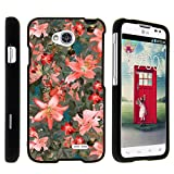 lg l70 phone accessories - Snap On Case for LG Ultimate 2 L41C / LG Optimus L70 / LG Realm LS620 , Slim Fit Snug Rubberized Custom Unique Image Cover Shell Black with Designs By TurtleArmor | 2 in 1 Combo Includes Clear Screen Protector and Case - Pink Floral Burst