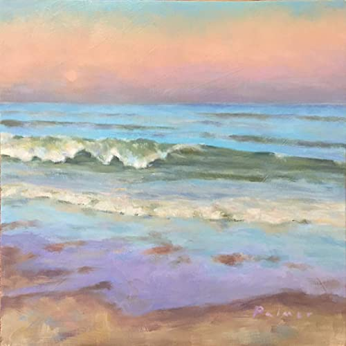 Amazon com: Oil Painting of Waves Crashing the Beach at Sunset: Handmade