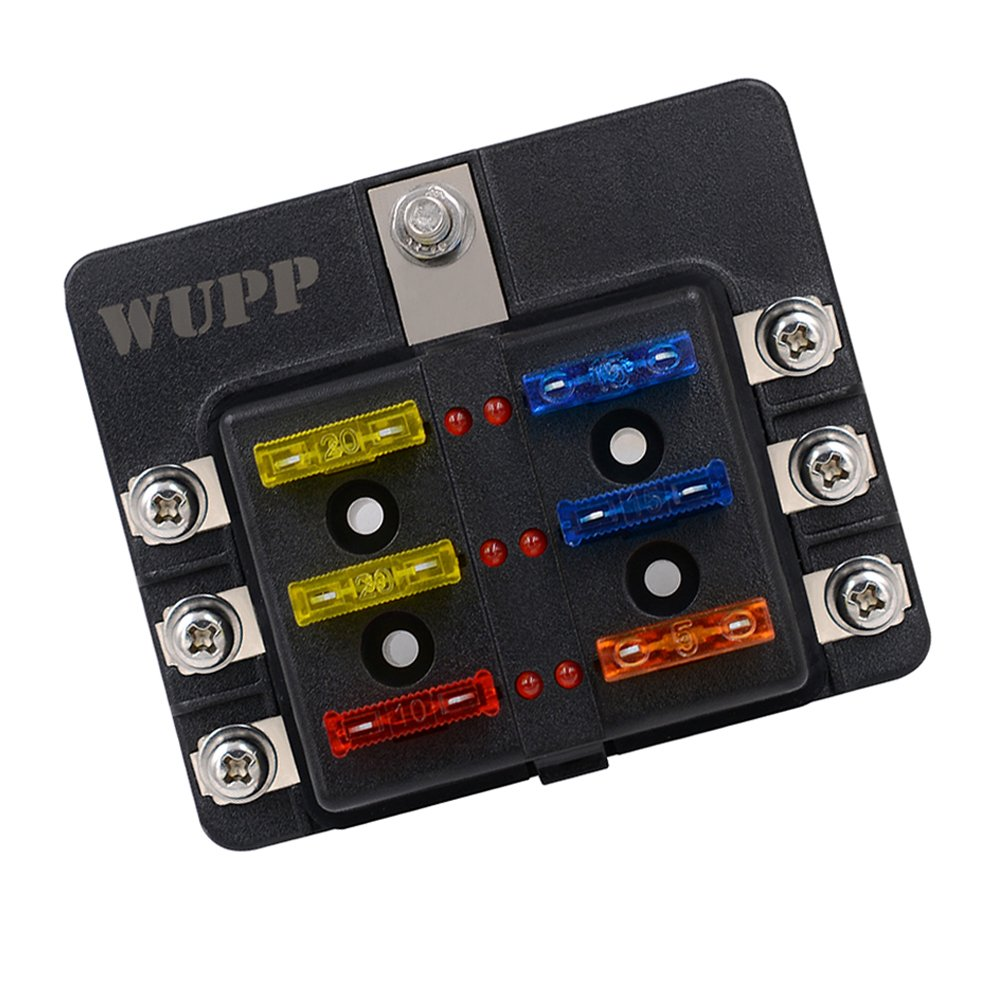 WUPP ST Blade Fuse Block with LED Warning Indicator Damp-Proof Cover - 12 circuits with negative bus Fuse Box for Car Boat Marine RV Truck DC 12-24V chengshuo CS-664A2