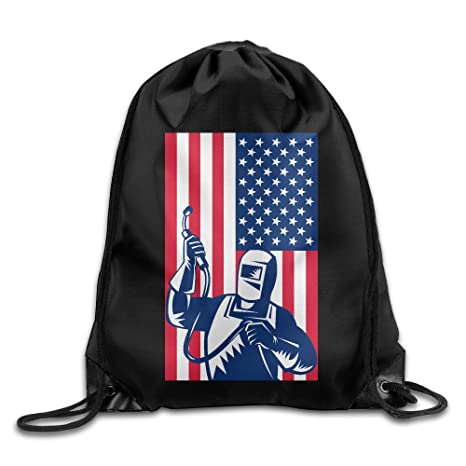 Bandera de Estados Unidos soldador impresión cordón mochila Bolsa de deporte