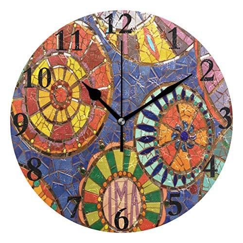 FunnyCustom Round Wall Clock Mosaic Art Acrylic Creative
