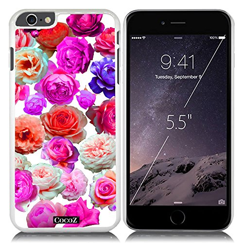 Price comparison product image New Apple iPhone 6 Plus 5.5-inch CocoZCase Beautiful roses flowers designs PC (White PC& Beautiful Flowers 29)