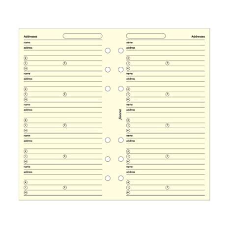 FILOFAX Name/Address/Telephone Refill for Personal & Personal Compact Size, 20 Sheets, Cream (B130253)