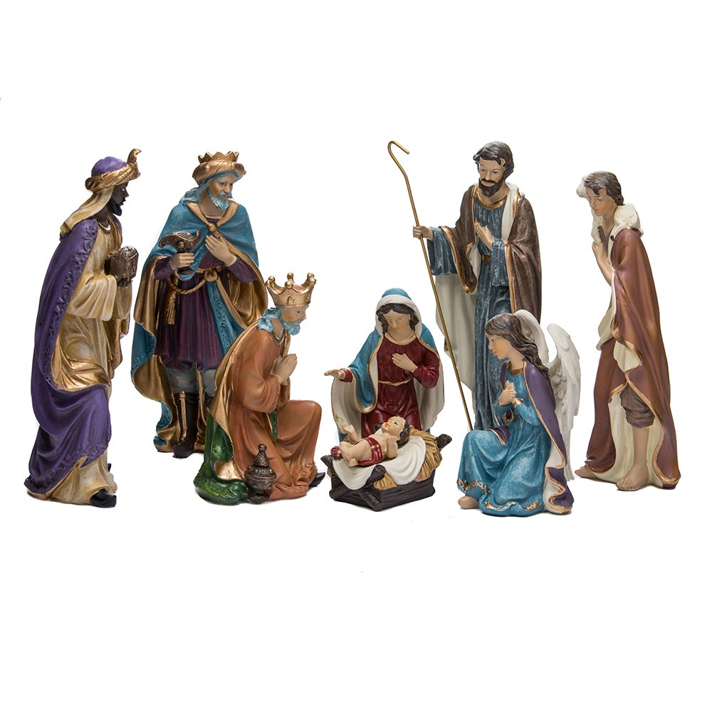 Kurt Adler Resin Nativity Figurine Set, 9-Inch, Set of 8 Kurt S. Adler Inc. C5710