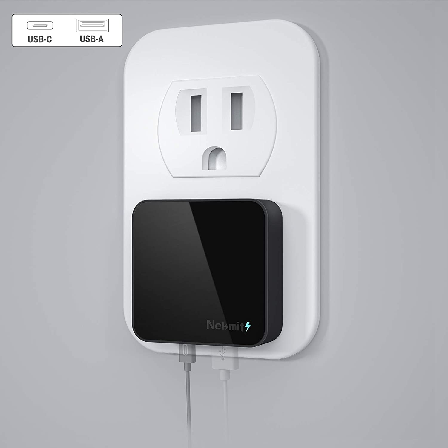 Nekmit USB C Charger, Thin Flat 30W Dual Port Fast Wall Charger with 18W Power Delivery PD 3.0 and 12W USB Port for iPhone 12/12 Mini/12 Pro/12 Pro Max, Galaxy, Pixel, iPad Pro, AirPods Pro and More