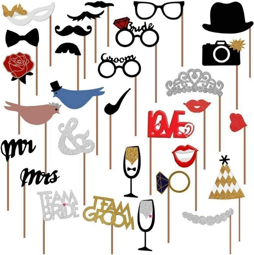 Tompig Wedding Photo Booth Props 31pcs DIY Fun Wedding Photo Props sur Sticks Personalized Photo Booth Accessoires pour Mariage D/écoration de f/ête