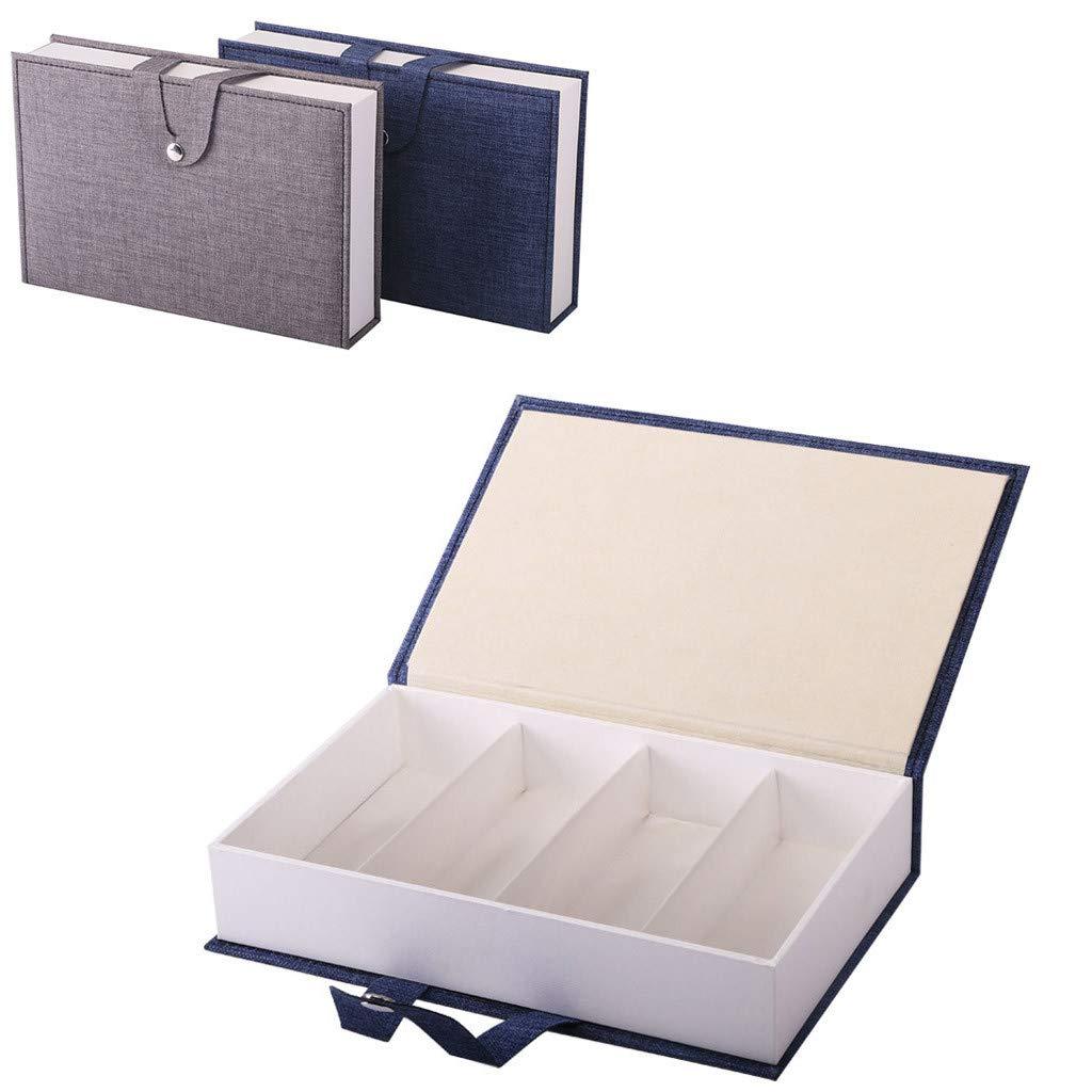 Blue Portable Elegant Book-shaped Glasses Display Case Holder Storage Organizer Collector for Women Men Transser 4 Slot Eyeglass Sunglass Storage Box