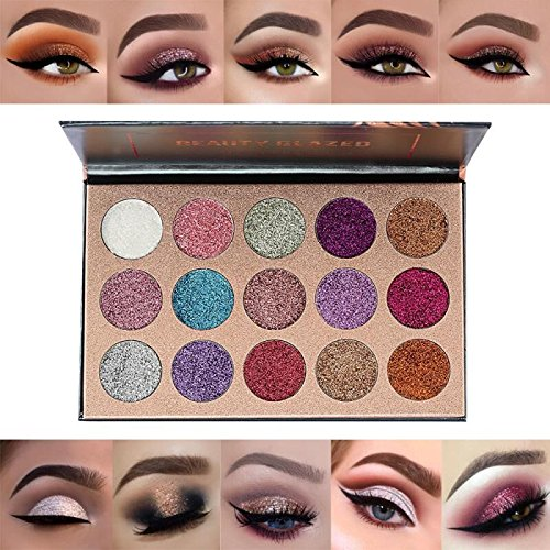 Beauty Glzaed 15 Colors Glitter Make-up Powder Metallic Shimmer Eye Shadow Palette Highly Pigmented Mineral Cosmetic Makeup Eyeshadow