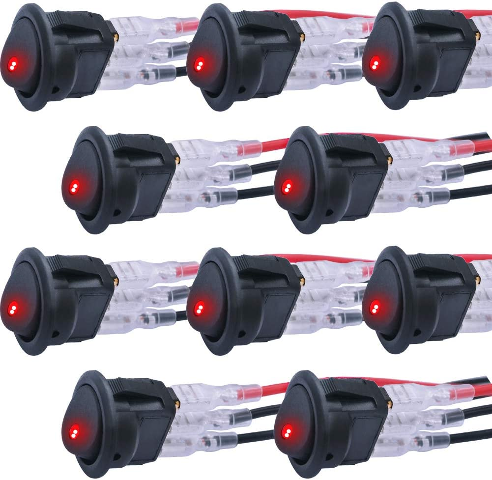 Twidec//10Pcs 20A 12V DC On//Off SPST Round Dot Rocker Toggle Switch Control For Car Or Boat With Red LED Light KCD2-102N-R