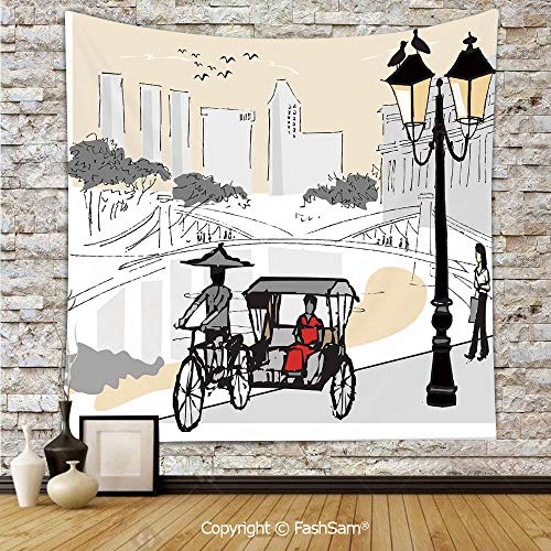 FashSam Tapestry Wall Blanket Wall Decor Sketch Singapore City Silhouette with Local People Asian Town Illustration Home Decorations for Bedroom(W59xL90)