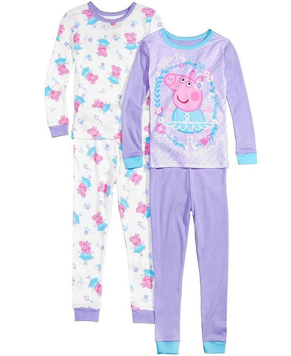 Komar Kids Peppa Pig Todder Girls 4-Piece Fairytale Ballerina Cotton Pajama Set