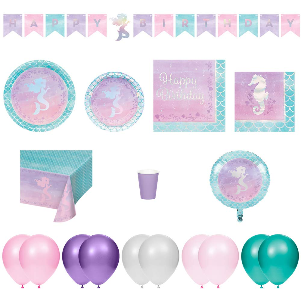 Cups Napkins 9pc Bundle CreativeConverting Kids Birthday Decorations /& Party Supplies Pack Mermaid Shine Plates Banner Foil//Metallic Balloon Tablecloth Balloons