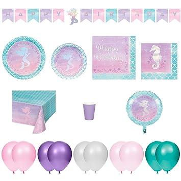 Amazon.com: Pack de platos de sirena para cumpleaños ...