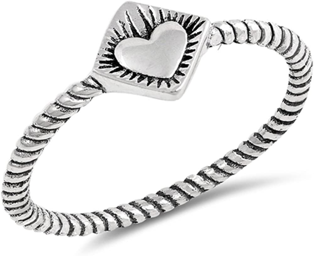 CloseoutWarehouse Sterling Silver Heart Center Rope Band Ring