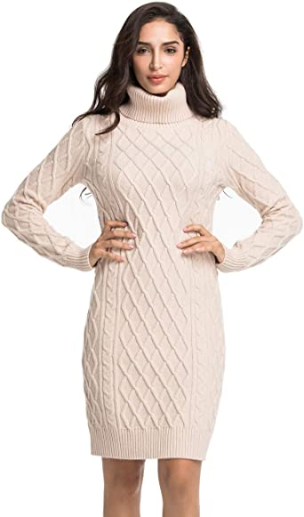 Lynz Pure Women's Turtleneck Sweater Dress Cable Knit Long Sleeve Slim Fit Jumper Dress