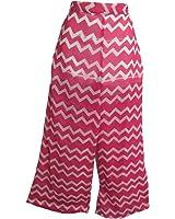 Missy Chiffon Wide Legs Abstract Print Pink & White Palazzo Pants