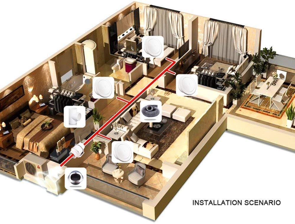 Toilettes Cuisine Bureau 120mm Extracteur de Conduit A/érateur dair Ventilateur de Gaine Silencieux pour Salle de Bain Volume dair: 310m/³ // h, 43W Salle Hydroponique Halle