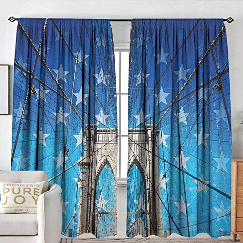 "New York Waterproof Window Curtain NYC Bridge with Stars Home to The Empire States Building Times Square Other Sites Room Darkening Thermal W 72"" XL 84"" Blue Grey"