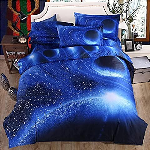 Cliab Galaxy Bedding Blue for Kids Boys Girls Twin Size Outer Space Duvet Cover Set 5 Pieces(Fitted Sheet Included)