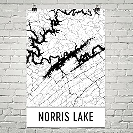 Norris Lake Tennessee Map.Amazon Com Modern Map Art Norris Lake Tennessee Norris Lake Tn