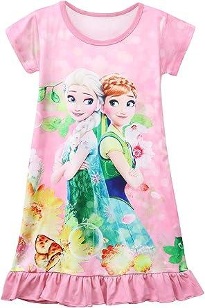 AOVCLKID Girls Princess Pajamas Sleepwear Toddler Nightgown Nightdress