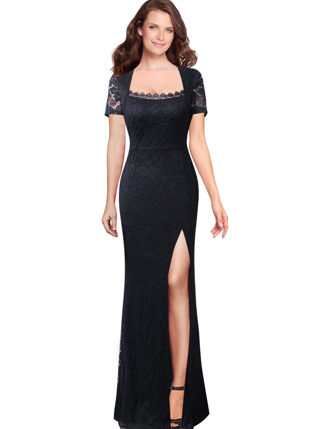 VfEmage Womens Square Neck Floral Lace Mermaid Formal Evening Maxi Dress 9461 BLK 12