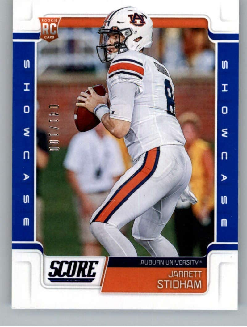 Amazon Com 2019 Score Showcase Football 336 Jarrett Stidham Ser 100 Auburn Tigers Rookie Official Nfl Trading Card From Panini Collectibles Fine Art