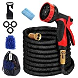 Dulzod Expandable Garden Hose 25FT Flexible Strongest Hose with 10 Pattern Spray Nozzle,Solid Brass Connectors - Double Latex Core, Extra Strength Fabric for Home & Garden Washing Water Hose