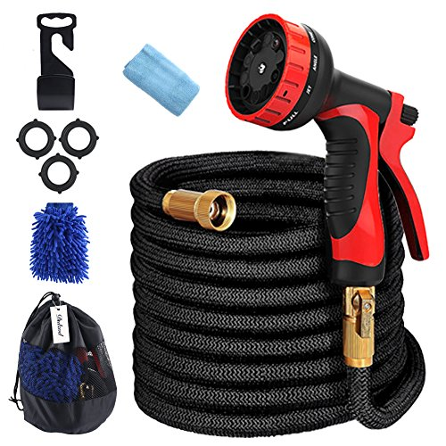 Dulzod Expandable Garden Hose 75FT Flexible Strongest Hose 10 Pattern Spray Nozzle,Solid Brass Connectors – Double Latex Core, Extra Strength Fabric Home & Garden Washing Water Hose