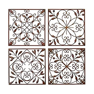Deco 79 Metal Wall Decor (Set of 4), 14 by 14