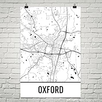 Amazoncom Oxford MS Poster Oxford MS Art Print Oxford MS Wall - Mississippi city map