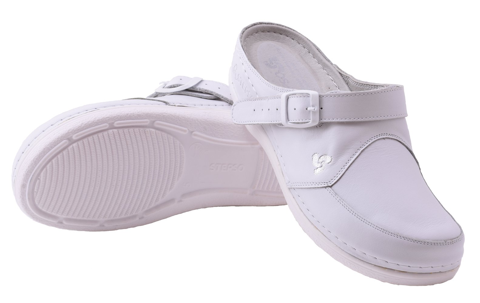 STEPSO Handmade Leather Clogs with Buckle Heel Straps for Women (9),White