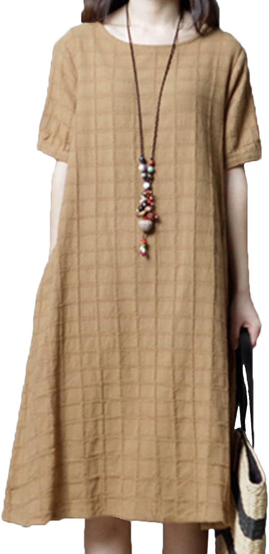 Robes yulinge Robe De Coton Linge des Manches Courtes Et Garde
