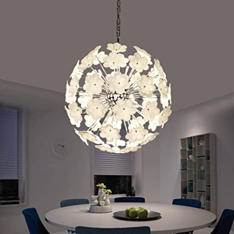 CUICAN Glass Circular Chandelier Pastoral Style Flowers Dining Room Pendant Lights Modern Decor Lighting Fixture Creative Light A