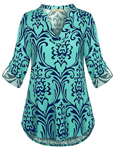 Blouse Tunic, Women Tops 3/4 Sleeve Casual Loose Fit Shirt Plaid Home Everyday Awesome Collared Ruched Jersey Color Block Popover Blusas Blue Green M - Exclusive Print Jersey
