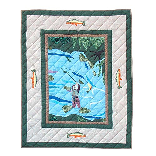 Patch Magic 36-Inch by 46-Inch Fly Fishing Quilt Crib