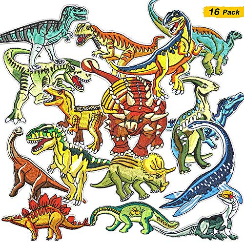 16 Pieces Dinosaur Iron on Patches Embroidered Motif Applique Assorted Size Decoration Sew On Patches for Clothing, Jackets, Backpacks, Jeans