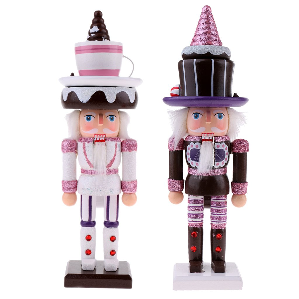 Homyl 2pcs 25cm Wooden Nutcrackers w/ Cake Hat Puppets Doll Toy Action Figurie Christmas Xmas Holiday Home Decorations Kids Gift