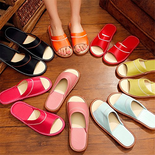 Wooden Men Women TELLW Dermis Slippers Comfortable Leather for Summer M Noir Sheepskin Spring Autumn Floor 0wPwqAS