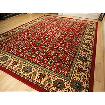 Amazoncom Red Traditional Rugs Large Red 5x7 Persian Rug 5x8 Red