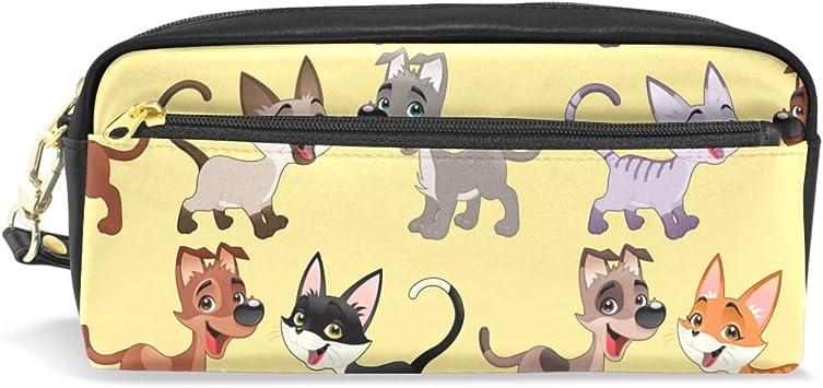 Bennigiry - Estuche para lápices de gatos y perros, bolígrafo escolar, estuche de piel sintética, gran capacidad, bolsa de maquillaje: Amazon.es: Oficina y papelería