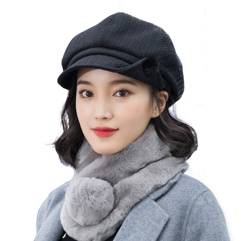 677888 Hat for Women Beret Autumn Winter Adjustable Fashion Wool Hat British Elegant