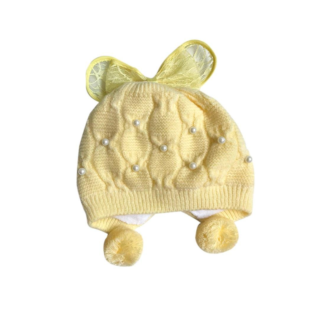 Botrong/® Butterfly Lace Bowknot Baby Toddler Warm Winter Beanie Hat Unisex Boy Girl Knitted Cap