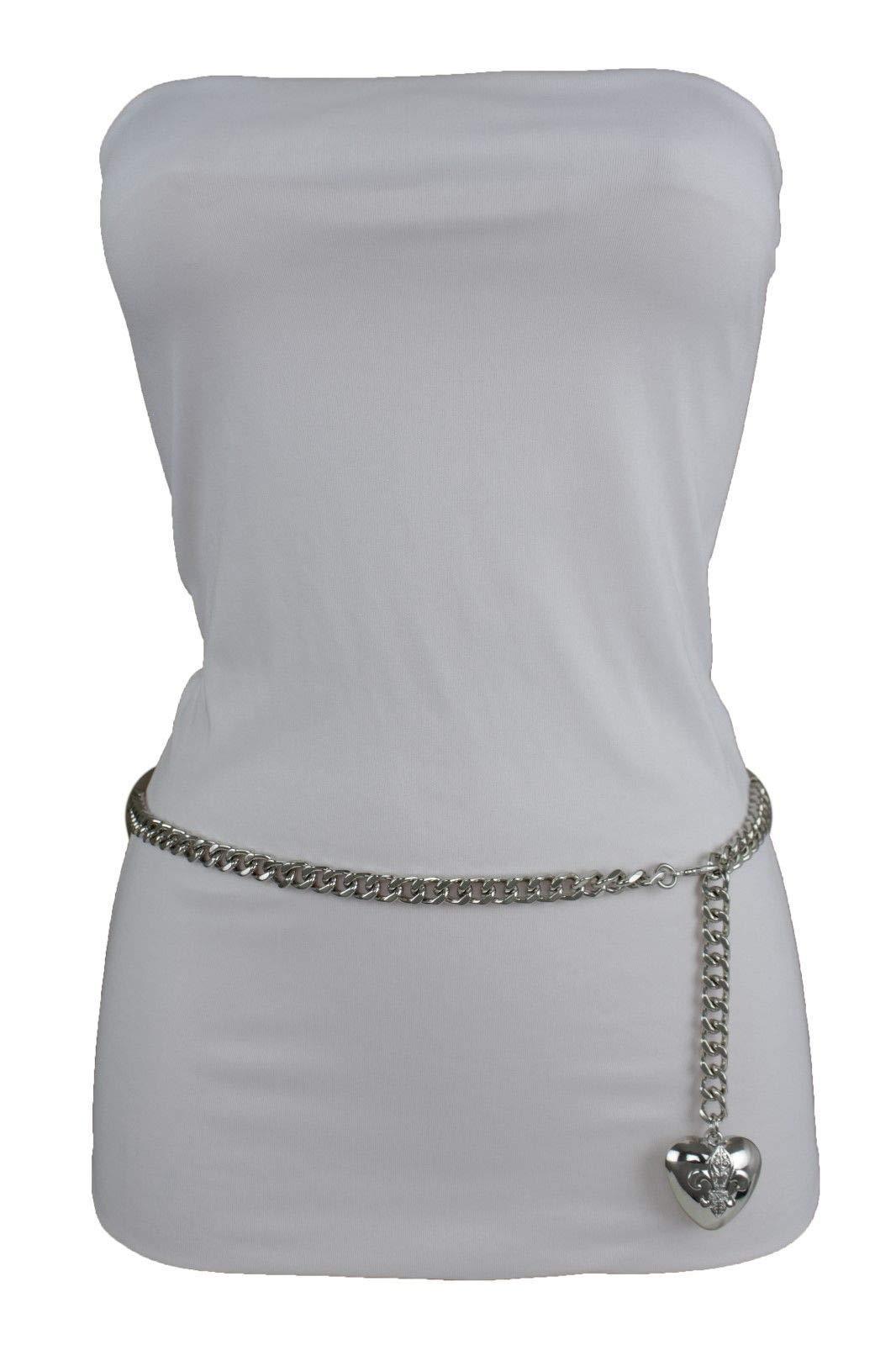 Women Hip Waist Silver Metal Chain Fashion Belt Love Heart Buckle Charm XS S M by RIX Fashion Luxury (Image #8)